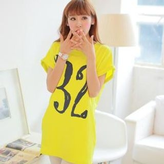 Chuvivi - Cuffed Short-Sleeve Number Print Tunic