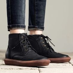 MIAOLV - Lace-Up Brogue Ankle Boots