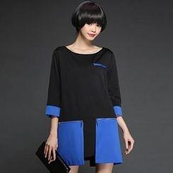 Mythmax - 3/4-Sleeve Contrast-Color Dress