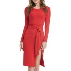 Rampi - Tie-Waist Slit Bodycon Dress