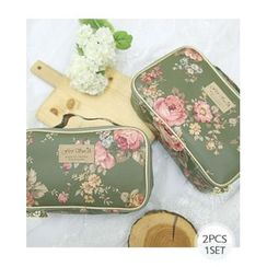 Miss21 Korea - Set of 2: Rose Print Cosmetic Pouch