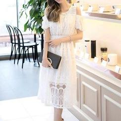 Jolly Club - Short-Sleeve Cutout-Shoulder Dress