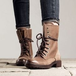 MIAOLV - Chunky Heel Lace Up Boots