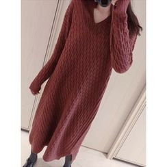 maybe-baby - Open-Placket Cable-Knit Long Dress