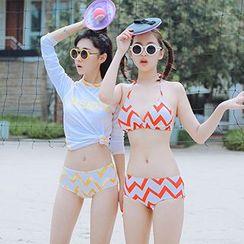 Little Dolphin - 套裝: 鋸齒紋比基尼泳衣 + 防曬衣 + 短褲