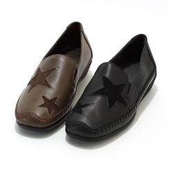 MODELSIS - Genuine-Leather Star-Pattern Loafers