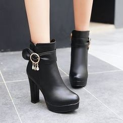 Shoes Galore - High Heel Rhinestone Ankle Boots