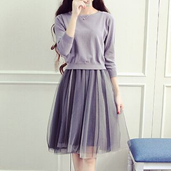 Cerise - Set: 3/4 Sleeve Pullover + Chiffon Tank Dress
