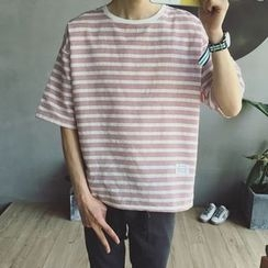 Soulcity - Elbow-Sleeve Stripe T-shirt