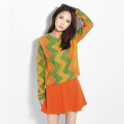 Porta - Set: Zigzag Print Knit Top + A-Line Skirt