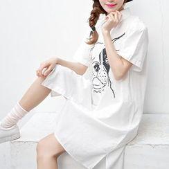 Yohana - Dog Print Long Shirt