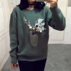 Tulander - Bobble Deer Applique Sweater