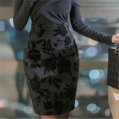 Attrangs - Floral Print Midi Skirt