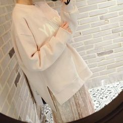 mimi&didi - Lettering Brushed-Fleece Lined Sweatshirt