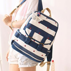 Canvas Love - Heart Print Striped Canvas Backpack