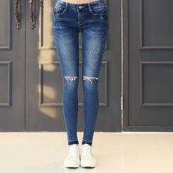 DANI LOVE - Slit-Trim Washed Skinny Jeans