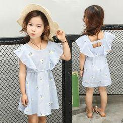 Pegasus - Kids Printed Flounced Short-Sleeve A-Line Dress