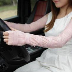 羚羊早安 - 蝶結裝飾多褶長款手套
