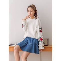 J-ANN - Flower Embroidered-Sleeve Frill-Cuff Sweatshirt