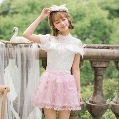 糖果雨 - 短袖蕾絲雪紡上衣