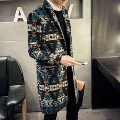 LIBIN - Printed Long Woolen Coat