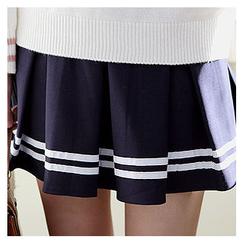 Sechuna - Inset Shorts Band-Waist Mini Skirt