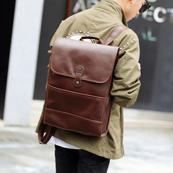 ETONWEAG - Faux Leather Laptop Backpack