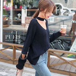 PUFII - Cutout Accent Knit Top