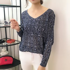 Dream Girl - Melange V-Neck Open Knit Sweater
