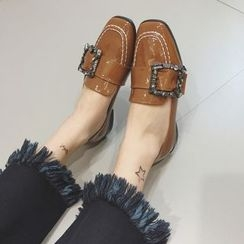 Crystella - Buckled Patent Loafers