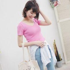 Tokyo Fashion - Plain Ribbed Short-Sleeve Top