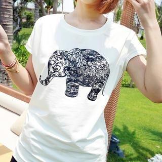 Mayi Ayamo - Short-Sleeve Embellished Elephant Print T-Shirt