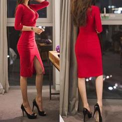Lovi - Long Sleeve V-Neck Twisted Sheath Party Dress