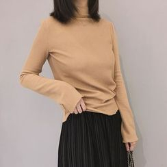 ANTEM - Plain Mock Neck Long Sleeve T-Shirt
