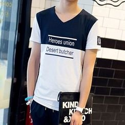 Evzen - Short Sleeve Lettering T-Shirt