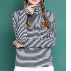 MUKOKO - Stripe Turtleneck Long-Sleeve T-shirt
