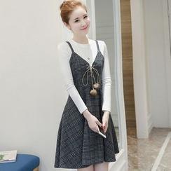 Yumerakka - Set: Long-Sleeve T-Shirt + Strappy Plaid Pleated Dress