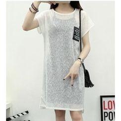 HazyDazy - 套装: 短袖薄纱裙衣 + 吊带裙
