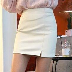 QNIGIRLS - Faux-Leather Slit-Front Mini Skirt