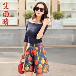 AiSun - Set: Boat Neck Elbow-Sleeve Top + Floral Print Shorts