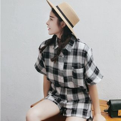 SUYISODA - Set: Short Sleeve Plaid Shirt + Plaid Shorts