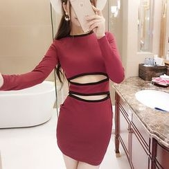 Neon Nite - Cut Out Front Contrast Trim Long Sleeve Bodycon Dress