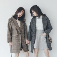 Porta - Plaid Lapel Knit Coat