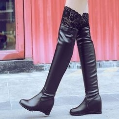 Sidewalk - Hidden Wedge  Over the Knee Boots