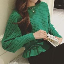 Bubbleknot - Set: Frill Hem Knit Top + Skirt