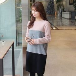 CLICK - Crewneck Color-Block Dress