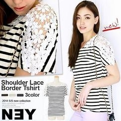 Luz Llena - Lace-Shoulder Striped Top