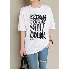 J-ANN - Crew-Neck Lettering T-Shirt