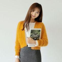 WITH IPUN - Wool Blend Cropped Cardigan