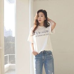 Hello sweety - Round-Neck Lettering T-Shirt